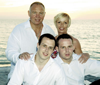 simon pinchbeck pictured with his wife, Linda and his two sons, Tom and Jamie
