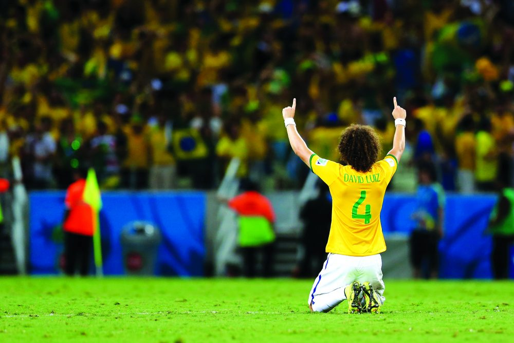 David Luiz playing for Brazil
