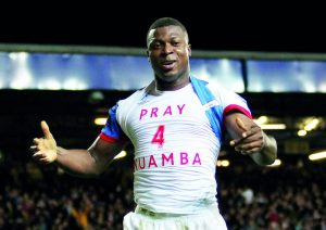 Yakubu Aiyegbeni of Blackburn Rovers celebrates scoring his goal to make it 2-0 wearing a pray for Muamba t-shirt