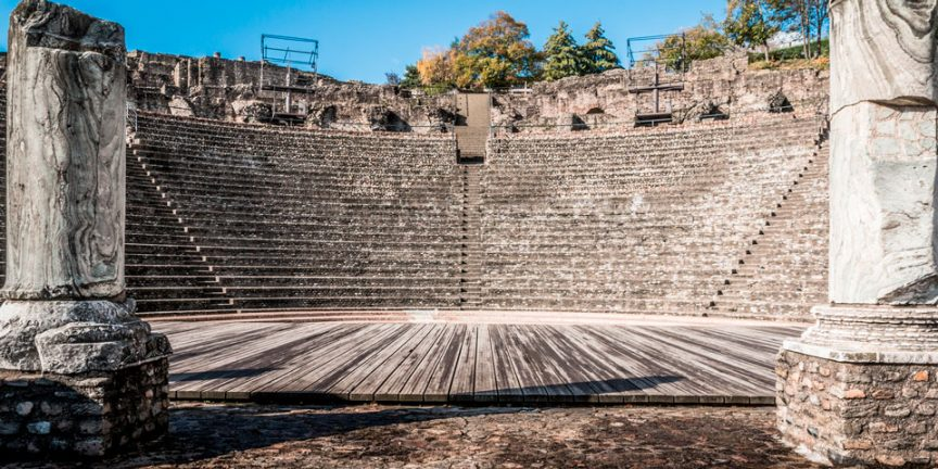 the seats in the amphitheatre