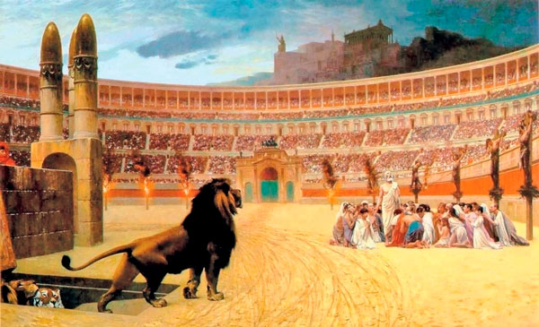 a lion entering an amphitheatre where a group of christians huddle together