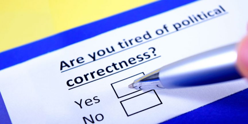 "picture of a ballot paper asking the question ""Are you tired of political correctness"""