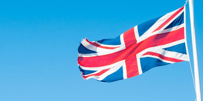 union flag flying against a blue sky