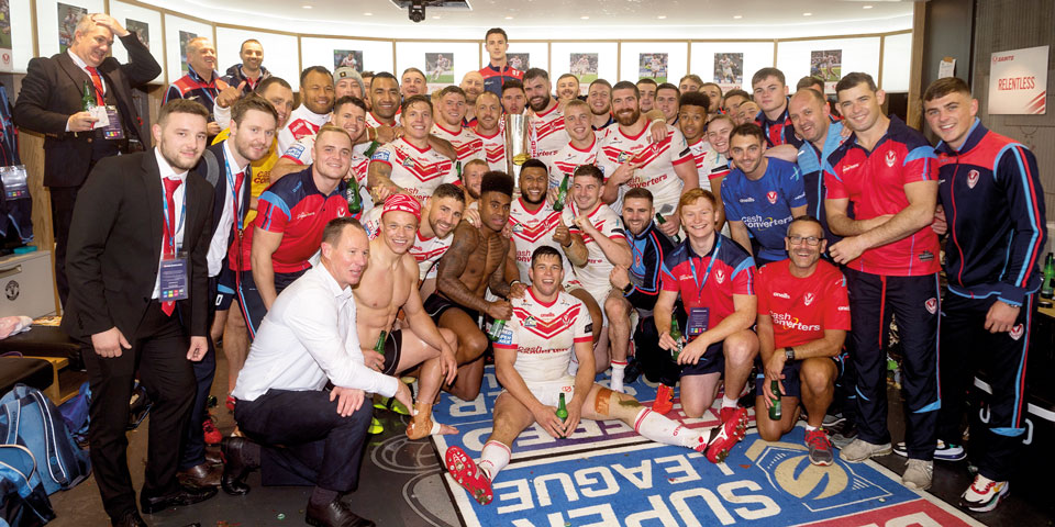 the st helen's rugby team celebrate after being crowned Champions of the European Super League