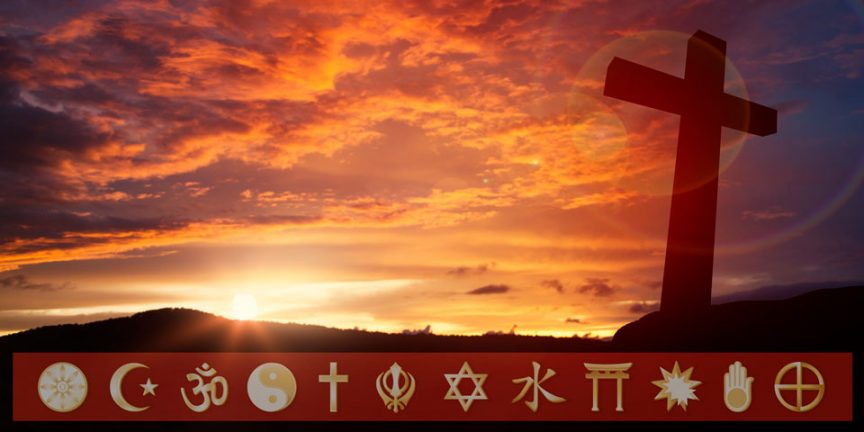 a view of a sunset with the cross on the right hand side, above a banner of the symbols of world religions
