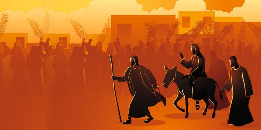 A cartoonised scene of Jesus triumphantly entering Jerusalem on a donkey