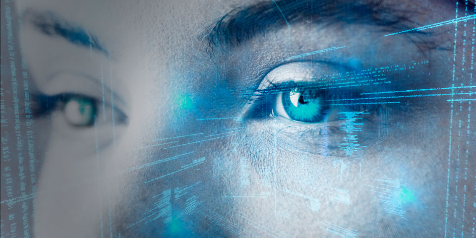 Close up image of a human's eyes with blue, AI style markings overlaid