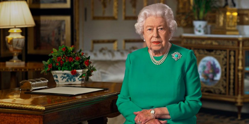 the queen during her broadcast to the nation during coronavirus