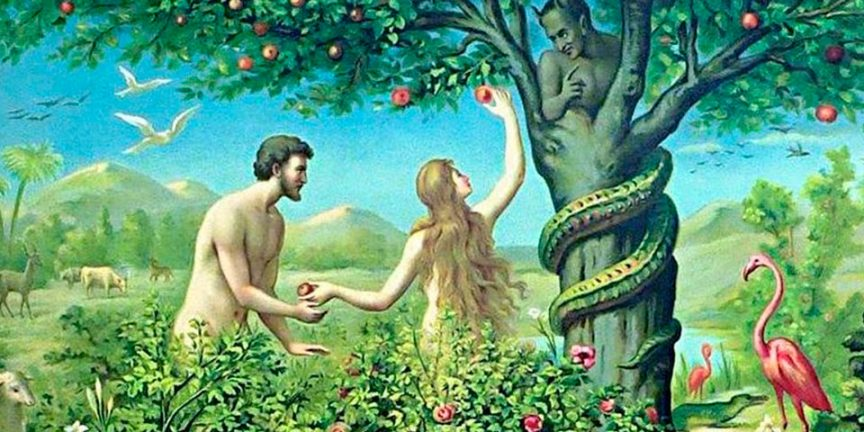a drawing of Eve taking the fruit from the tree and handing it to Adam in the Garden of Eden