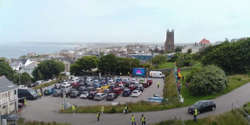 a shot of the drive in church in Newquay