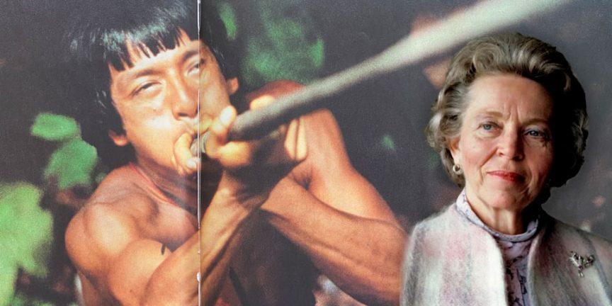 Elisabeth Elliot superimposed over an Auca man